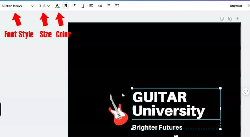 Editing the text of the logo