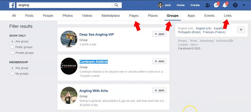 Use Facebook for domain name research