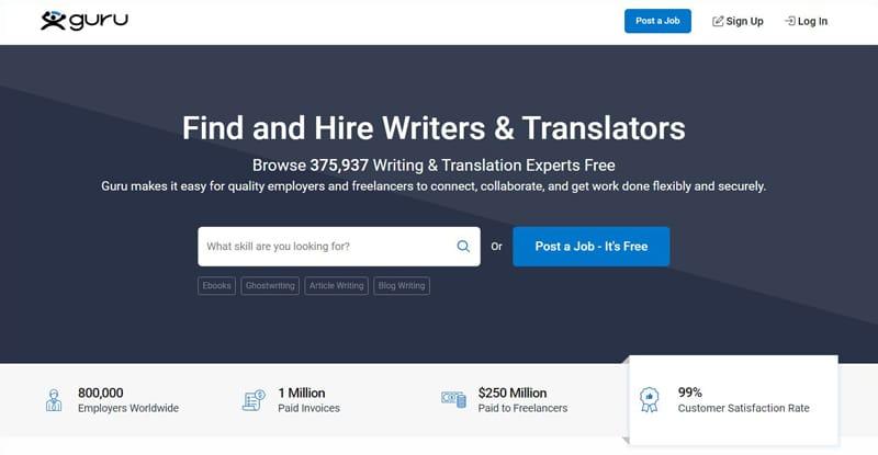 Guru Freelance Website For Writers