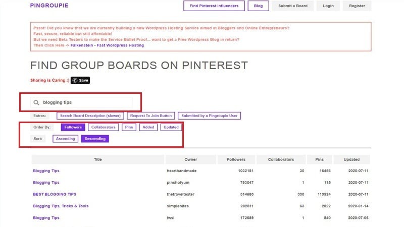 Where to find blogging tips board groups