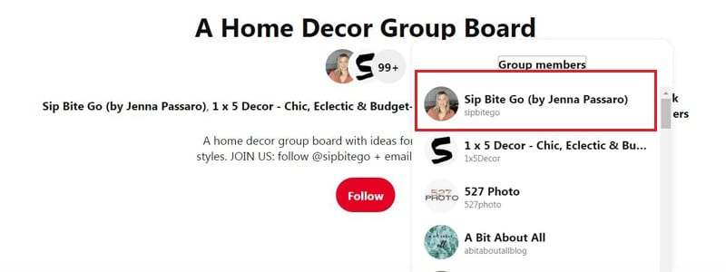 How to join home decor group boards