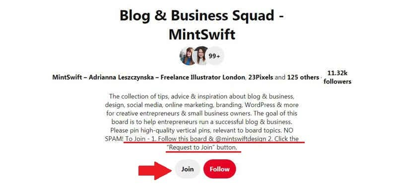 How to join blogging group boards