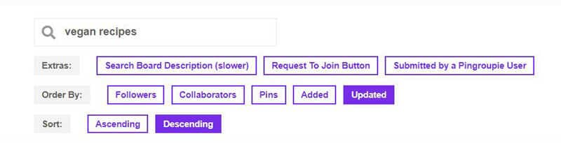 PINGROUPIE group board filters