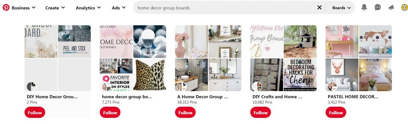 Top home decor group boards