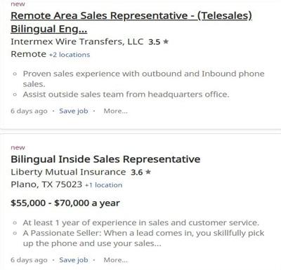 Customer sales representative online jobs for bilinguals