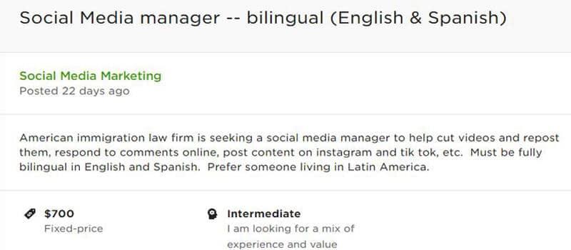 Social media manager online jobs for bilinguals